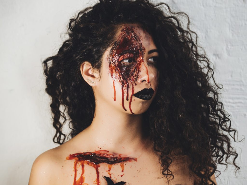 Girls with scary Halloween face makeup - ACSM